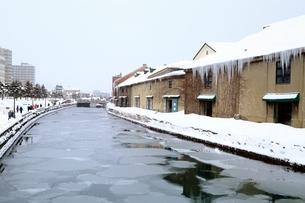 小樽運河 雪景色の写真素材 [FYI03145066]