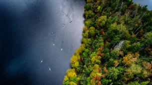紅葉と湖の写真素材 [FYI03145349]