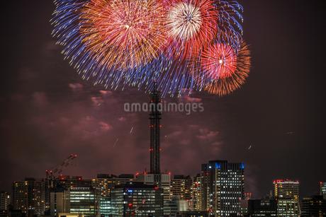 横浜の街並みと花火(みなとみらいスマートフェスティバル)の写真素材 [FYI03145426]