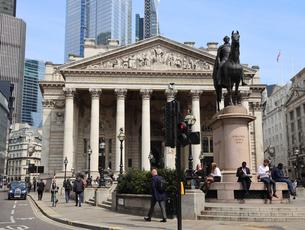 シティーの王立取引所とウェリントン像の写真素材 [FYI03145486]