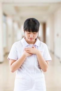 胸に手をあてる看護学生の写真素材 [FYI03145875]