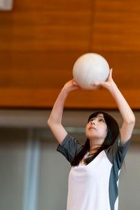 体育館でバレーをする女子学生の写真素材 [FYI03145898]