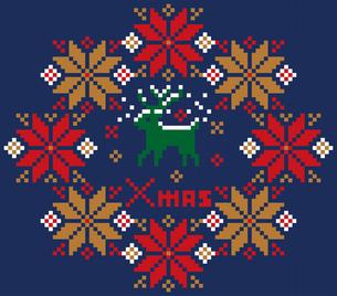 クリスマスのイメージのリース型のノルディック柄のイラスト素材:背景のイラスト素材 [FYI03146119]