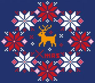 クリスマスのイメージのリース型のノルディック柄のイラスト素材:背景のイラスト素材 [FYI03146120]