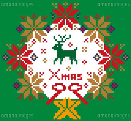 クリスマスのイメージのリース型のノルディック柄のイラスト素材:背景のイラスト素材 [FYI03146121]