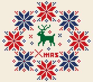 クリスマスのイメージのリース型のノルディック柄のイラスト素材:背景のイラスト素材 [FYI03146122]
