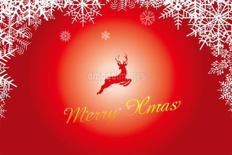 クリスマスのイメージの背景画像:雪のフレームと跳び上がるトナカイのイラスト、メリークリスマスのロゴのイラスト素材 [FYI03146819]