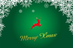 クリスマスのイメージの背景画像:雪のフレームと跳び上がるトナカイのイラスト、メリークリスマスのロゴのイラスト素材 [FYI03146820]