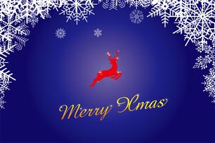 クリスマスのイメージの背景画像:雪のフレームと跳び上がるトナカイのイラスト、メリークリスマスのロゴのイラスト素材 [FYI03146821]
