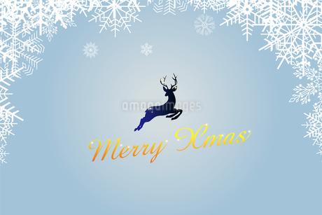 クリスマスのイメージの背景画像:雪のフレームと跳び上がるトナカイのイラスト、メリークリスマスのロゴのイラスト素材 [FYI03146823]