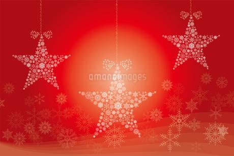 クリスマスのイメージの背景画像:聖夜に光る雪の結晶で作られた星の形のガーランドのイラスト素材 [FYI03146824]