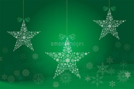 クリスマスのイメージの背景画像:聖夜に光る雪の結晶で作られた星の形のガーランドのイラスト素材 [FYI03146825]