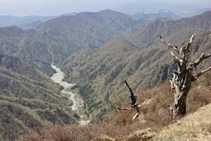 春のユーシン渓谷と檜岳山稜 の写真素材 [FYI03147047]