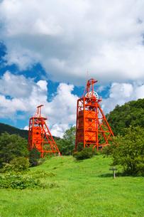 炭鉱メモリアル森林公園の堅坑櫓の写真素材 [FYI03147435]