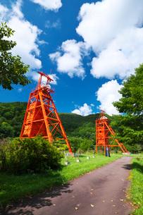 炭鉱メモリアル森林公園の堅坑櫓の写真素材 [FYI03147438]