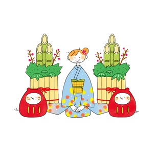 着物の女性と門松と子のダルマのイラスト素材 [FYI03147585]