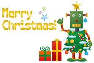 クリスマスツリーロボットのクリスマスカードのイラスト素材 [FYI03147692]