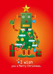 クリスマスツリーロボットのクリスマスカードのイラスト素材 [FYI03147693]