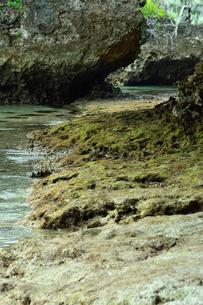 ニューカレドニア・イル・デ・パンのカヌメラ湾カヌメラビーチの岩場の洞窟と澄んだ海水の写真素材 [FYI03148256]