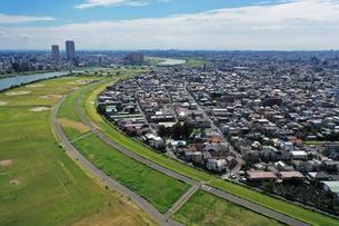 江戸川上空からの空撮の写真素材 [FYI03149021]