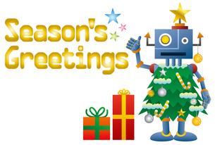 クリスマスツリーロボットのクリスマスカードのイラスト素材 [FYI03149177]