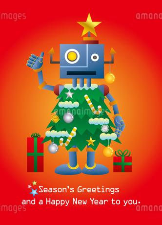 クリスマスツリーロボットのクリスマスカードの写真素材 [FYI03149178]