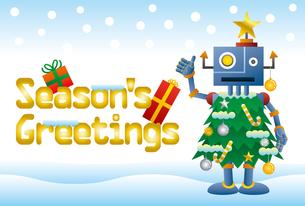 クリスマスツリーロボットのクリスマスカードのイラスト素材 [FYI03149179]