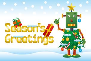 クリスマスツリーロボットのクリスマスカードのイラスト素材 [FYI03149180]