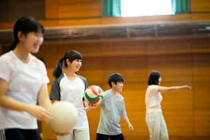 体育館でバレーの練習をする学生の写真素材 [FYI03149355]