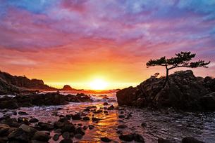 越前海岸の夕日 日本 福井県 越前町の写真素材 [FYI03150135]