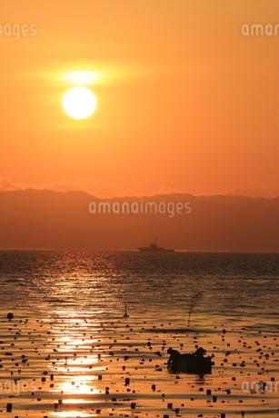 日の出と漁の写真素材 [FYI03151117]