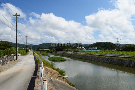 沖縄の田舎の川沿いの道と橋の写真素材 [FYI03152802]