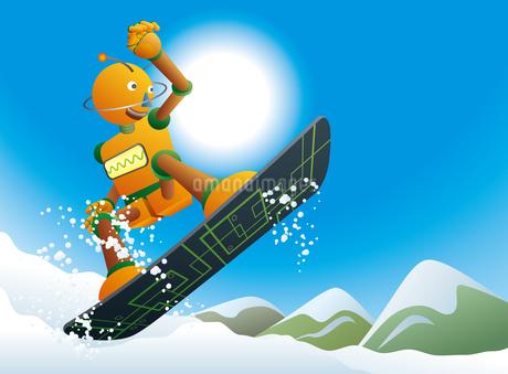 雪山を滑るロボットスノーボーダーのイラスト素材 [FYI03153068]