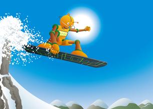 雪山を滑るロボットスノーボーダーのイラスト素材 [FYI03153069]