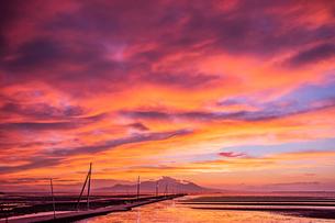 長部田海床路の夕焼け  日本 熊本県 宇土市の写真素材 [FYI03153798]