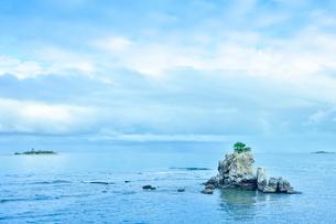 ニューカレドニア・ヌメアのオルフェリナ湾付近にある木が生えている岩と彼方に見える島の写真素材 [FYI03155638]