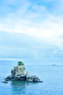 ニューカレドニア・ヌメアのオルフェリナ湾付近にある木が生えている岩と彼方に見える島の写真素材 [FYI03155640]