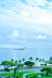 ニューカレドニア・ヌメアの海に沿った道に並ぶヤシの木々と海に浮かぶ島の写真素材 [FYI03155650]