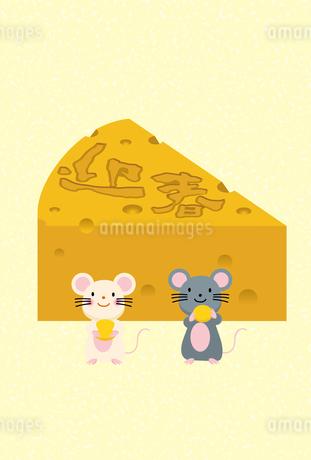 イラスト素材: ネズミとかじられたチーズのイラスト_2020年子年 令和 和柄_年賀状用素材 縦のイラスト素材 [FYI03155838]