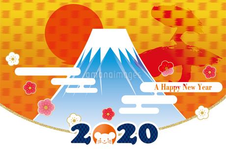イラスト素材: 2020年子年令和2年 初日の出と富士山のイラスト|和柄・和風の年賀状テンプレートのイラスト素材 [FYI03156141]