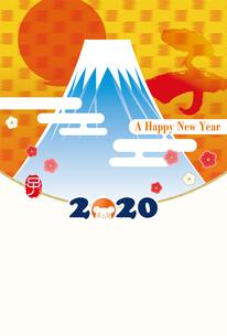 イラスト素材: 2020年子年令和2年 初日の出と富士山のイラスト|和柄・和風の年賀状テンプレートのイラスト素材 [FYI03156150]
