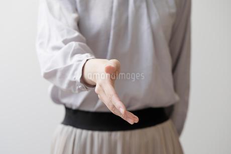 握手を求める女性の手元の写真素材 [FYI03156537]