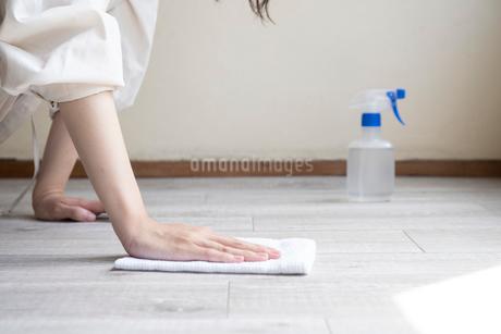 掃除をする女性の手元の写真素材 [FYI03156566]