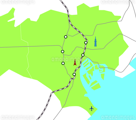 東京23区の地図路線図イラストマップ素材のイラスト素材 [FYI03156942]