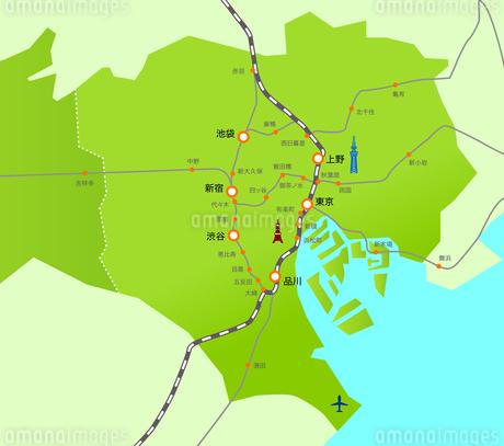 東京23区の地図路線図イラストマップ素材のイラスト素材 [FYI03156943]