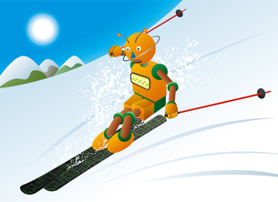 冬の晴れた日の高山でスキーを楽しむロボットスキーヤーのイラスト素材 [FYI03157388]
