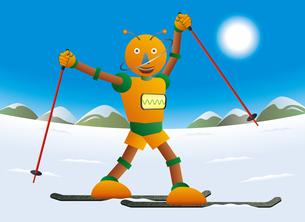 冬の晴れた日にスティックを手にポーズを決めるロボットスキーヤーのイラスト素材 [FYI03157389]
