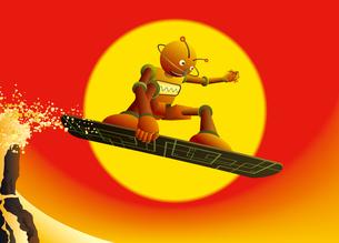 夕焼けの冬山でジャンプするロボットスノーボーダーのイラスト素材 [FYI03158093]
