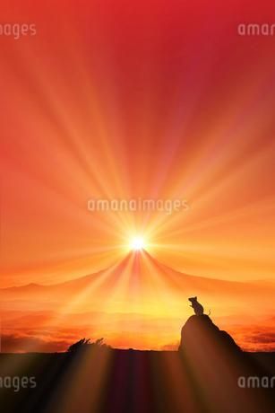 富士山の日の出とネズミのシルエットのイラスト素材 [FYI03160310]
