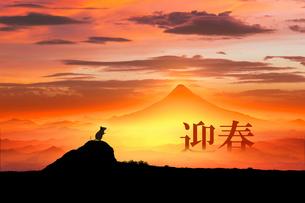 富士山の日の出とネズミのシルエットのイラスト素材 [FYI03160353]